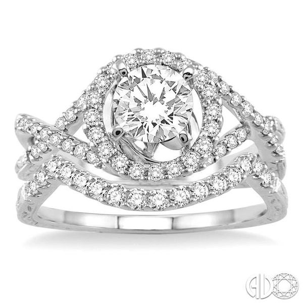 1 1/5 Ctw Diamond Wedding Set with 1 Ctw Round Cut Engagement Ring and 1/5 Ctw Wedding Band in 14K White Gold Image 2 Coughlin Jewelers St. Clair, MI
