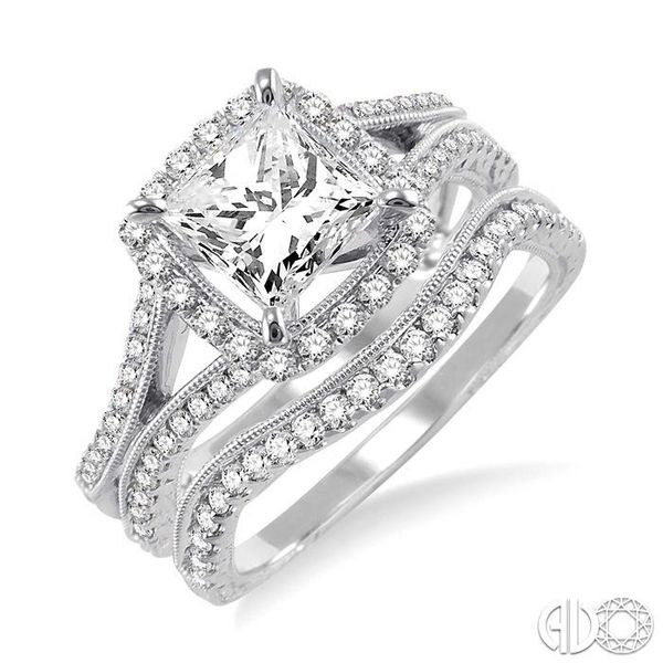 1 1/3 Ctw Diamond Wedding Set with 1 1/6 Ctw Princess Cut Engagement Ring and 1/5 Ctw Wedding Band in 14K White Gold Coughlin Jewelers St. Clair, MI