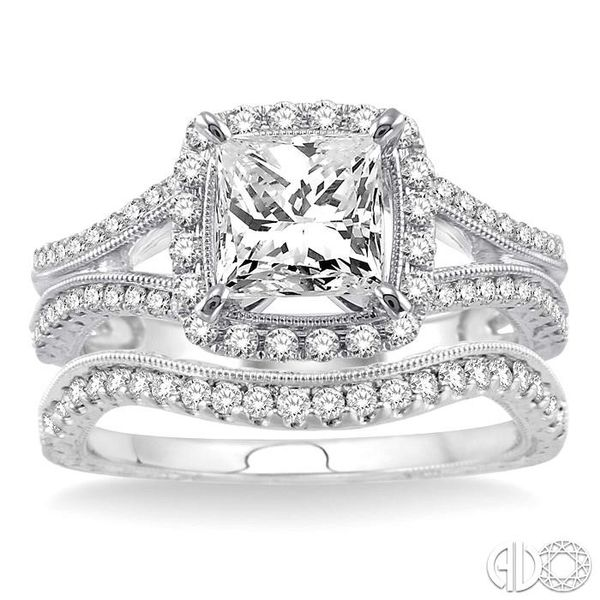1 1/3 Ctw Diamond Wedding Set with 1 1/6 Ctw Princess Cut Engagement Ring and 1/5 Ctw Wedding Band in 14K White Gold Image 2 Coughlin Jewelers St. Clair, MI