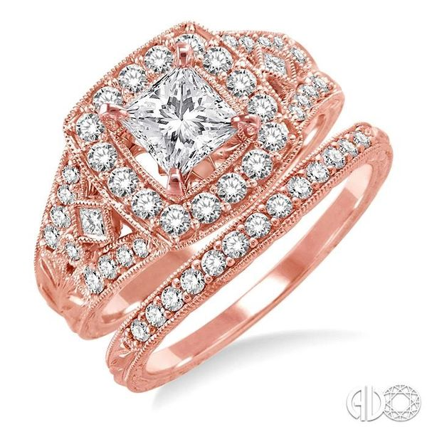 1 1/5 Ctw Diamond Wedding Set with 1 1/10 Ctw Princess Cut Engagement Ring and 1/6 Ctw Wedding Band in 14K Rose Gold Coughlin Jewelers St. Clair, MI