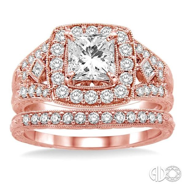 1 1/5 Ctw Diamond Wedding Set with 1 1/10 Ctw Princess Cut Engagement Ring and 1/6 Ctw Wedding Band in 14K Rose Gold Image 2 Coughlin Jewelers St. Clair, MI