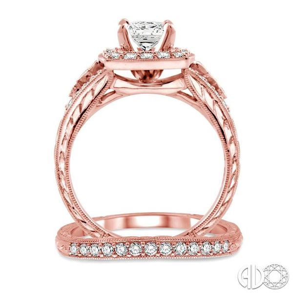 1 1/5 Ctw Diamond Wedding Set with 1 1/10 Ctw Princess Cut Engagement Ring and 1/6 Ctw Wedding Band in 14K Rose Gold Image 3 Coughlin Jewelers St. Clair, MI