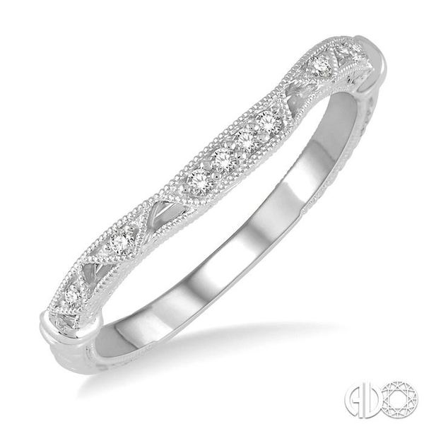 1/20 Ctw Vintage Inspired Round Diamond Wedding Band in 14K White Gold Coughlin Jewelers St. Clair, MI