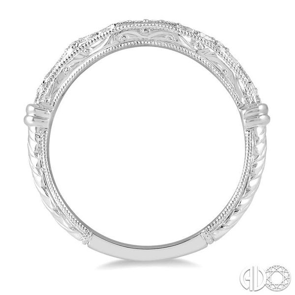 1/20 Ctw Vintage Inspired Round Diamond Wedding Band in 14K White Gold Image 3 Coughlin Jewelers St. Clair, MI