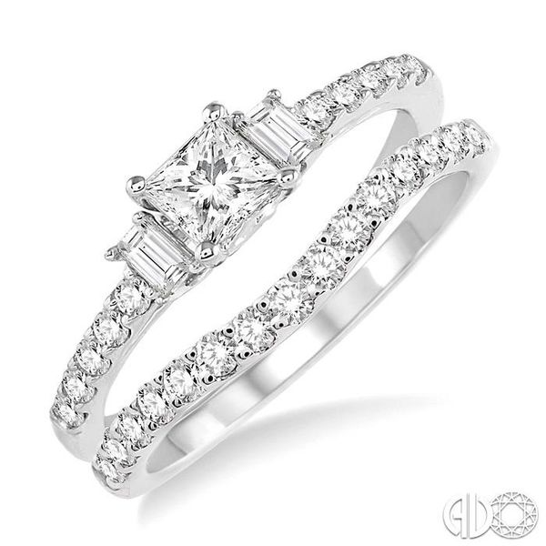 1 1/6 Ctw Diamond Wedding Set with 7/8 Ctw Princess Cut Engagement Ring and 1/4 Ctw Wedding Band in 14K White Gold Coughlin Jewelers St. Clair, MI