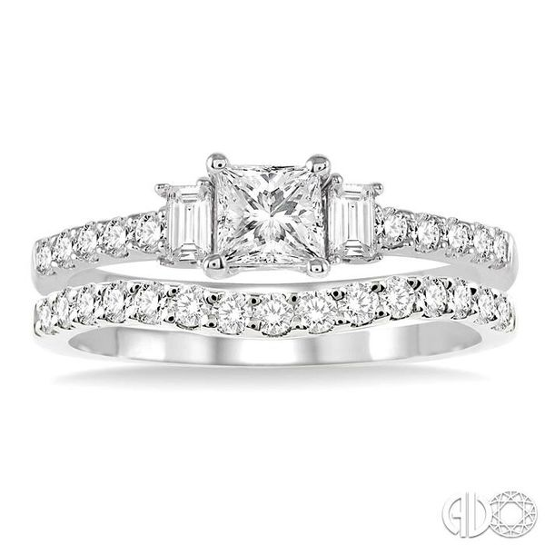 1 1/6 Ctw Diamond Wedding Set with 7/8 Ctw Princess Cut Engagement Ring and 1/4 Ctw Wedding Band in 14K White Gold Image 2 Coughlin Jewelers St. Clair, MI