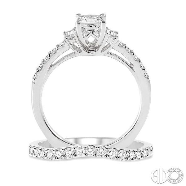 1 1/6 Ctw Diamond Wedding Set with 7/8 Ctw Princess Cut Engagement Ring and 1/4 Ctw Wedding Band in 14K White Gold Image 3 Coughlin Jewelers St. Clair, MI