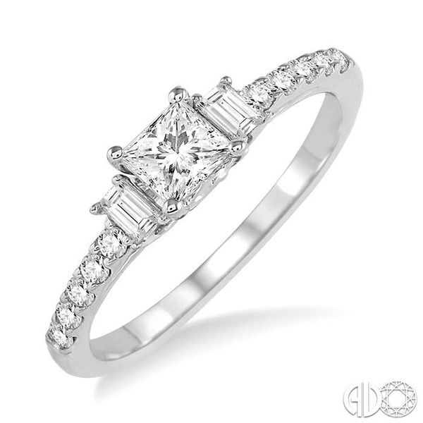 7/8 Ctw Diamond Engagement Ring with 1/2 Ct Princess Cut Center Stone in 14K White Gold Coughlin Jewelers St. Clair, MI
