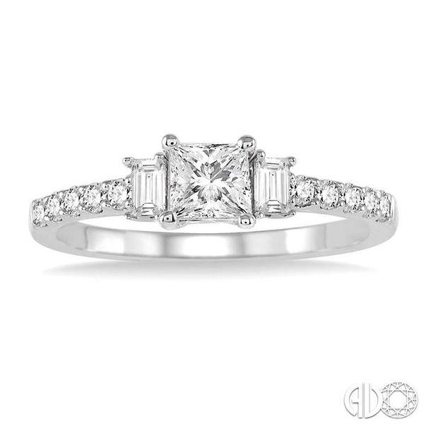 7/8 Ctw Diamond Engagement Ring with 1/2 Ct Princess Cut Center Stone in 14K White Gold Image 2 Coughlin Jewelers St. Clair, MI