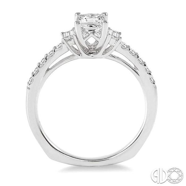 7/8 Ctw Diamond Engagement Ring with 1/2 Ct Princess Cut Center Stone in 14K White Gold Image 3 Coughlin Jewelers St. Clair, MI