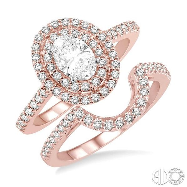 5/8 ct Diamond Wedding Set With 1/2 ct Engagement Ring and 1/10 ct Wedding Band in 14K Rose and White Gold Coughlin Jewelers St. Clair, MI