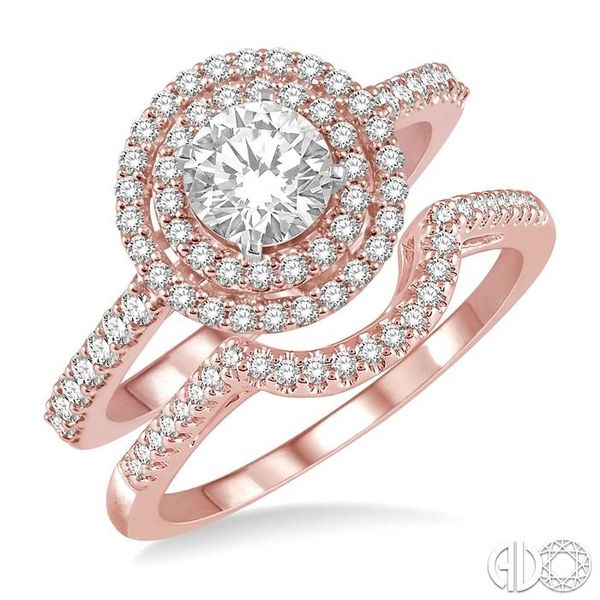 5/8 Ctw Diamond Wedding Set in 14K With 1/2 Ctw Round Shape Engagement Ring in Rose and White Gold and 1/10 Ctw U-Shape Wedding  Coughlin Jewelers St. Clair, MI