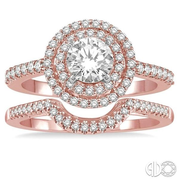 5/8 Ctw Diamond Wedding Set in 14K With 1/2 Ctw Round Shape Engagement Ring in Rose and White Gold and 1/10 Ctw U-Shape Wedding  Image 2 Coughlin Jewelers St. Clair, MI