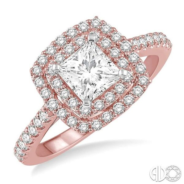 1 Ctw Princess Cut Center Stone Diamond Ladies Engagement Ring in 14K Rose and White Gold Coughlin Jewelers St. Clair, MI