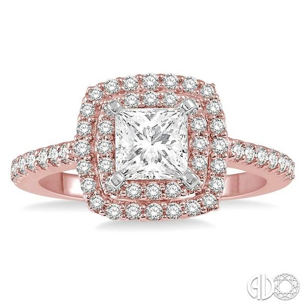 1 Ctw Princess Cut Center Stone Diamond Ladies Engagement Ring in 14K Rose and White Gold Image 2 Coughlin Jewelers St. Clair, MI