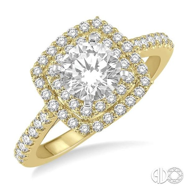 1 Ctw Round Cut Center Stone Diamond Ladies Engagement Ring in 14K Yellow and White Gold Coughlin Jewelers St. Clair, MI