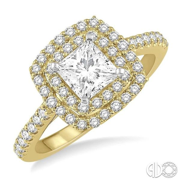 1 Ctw Princess Cut Center Stone Diamond Ladies Engagement Ring in 14K Yellow and White Gold Coughlin Jewelers St. Clair, MI