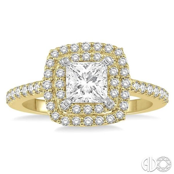 1 Ctw Princess Cut Center Stone Diamond Ladies Engagement Ring in 14K Yellow and White Gold Image 2 Coughlin Jewelers St. Clair, MI