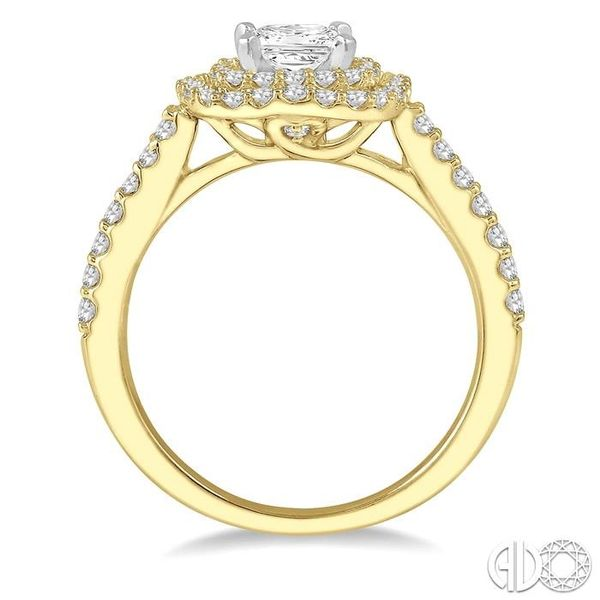 1 Ctw Princess Cut Center Stone Diamond Ladies Engagement Ring in 14K Yellow and White Gold Image 3 Coughlin Jewelers St. Clair, MI