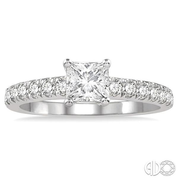 1 1/10 Ctw Princess Cut Diamond Ladies Engagement Ring with 5/8 Ct Princess Cut Center Stone in 14K White Gold Image 2 Coughlin Jewelers St. Clair, MI