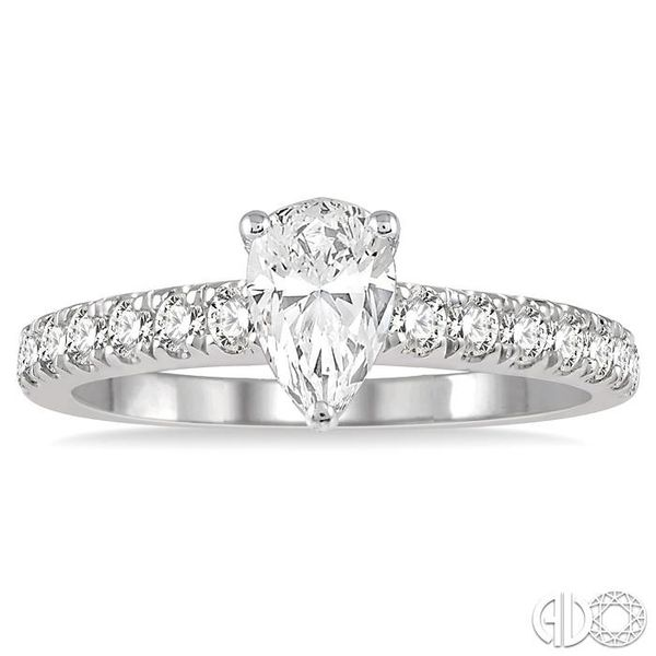 1 1/10 Ctw Pear Shape Diamond Ladies Engagement Ring with 5/8 Ct Pear Cut Center Stone in 14K White Gold Image 2 Coughlin Jewelers St. Clair, MI