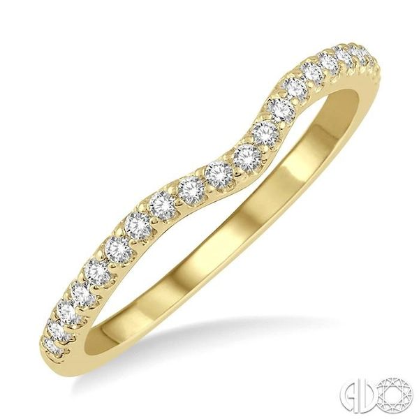 1/5 Ctw Curved Center Round Cut Diamond Wedding Band in 14K Yellow Gold Coughlin Jewelers St. Clair, MI