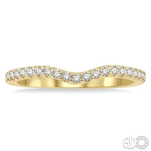 1/5 Ctw Curved Center Round Cut Diamond Wedding Band in 14K Yellow Gold Image 2 Coughlin Jewelers St. Clair, MI