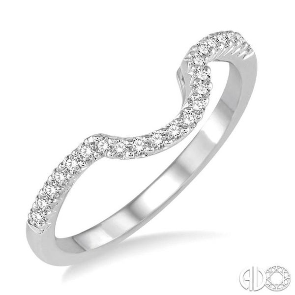 1/8 Ctw Curved Center Round Cut Diamond Wedding Band in 14K White Gold Coughlin Jewelers St. Clair, MI
