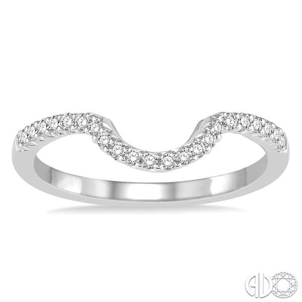 1/8 Ctw Curved Center Round Cut Diamond Wedding Band in 14K White Gold Image 2 Coughlin Jewelers St. Clair, MI