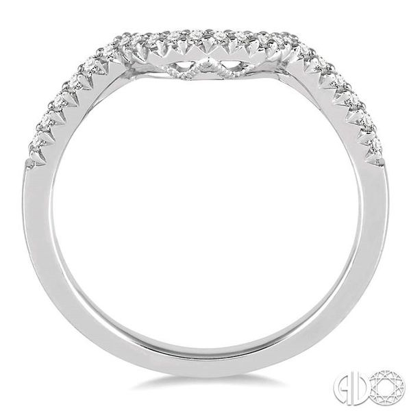 1/8 Ctw Curved Center Round Cut Diamond Wedding Band in 14K White Gold Image 3 Coughlin Jewelers St. Clair, MI