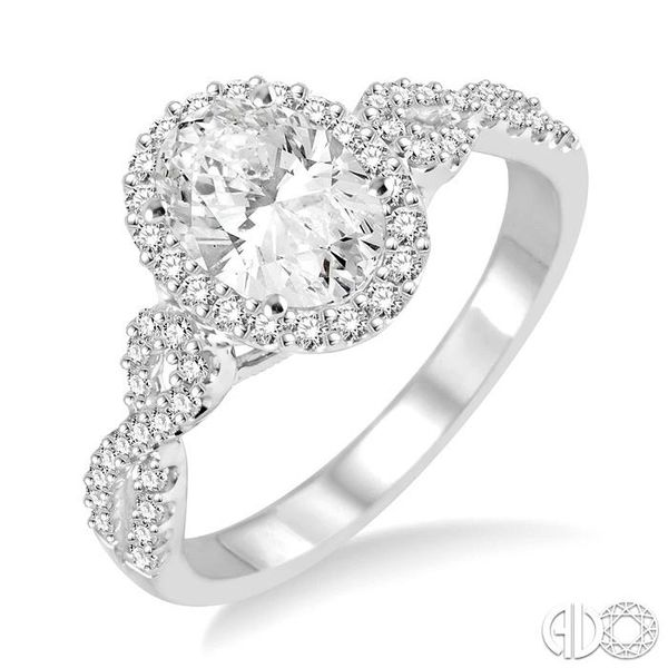 1/2 Ctw Oval Cut Diamond Ladies Engagement Ring with 1/3 Ct Oval Cut Center Stone in 14K White Gold Coughlin Jewelers St. Clair, MI