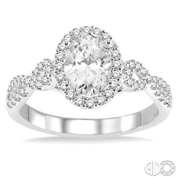 1/2 Ctw Oval Cut Diamond Ladies Engagement Ring with 1/3 Ct Oval Cut Center Stone in 14K White Gold Image 2 Coughlin Jewelers St. Clair, MI