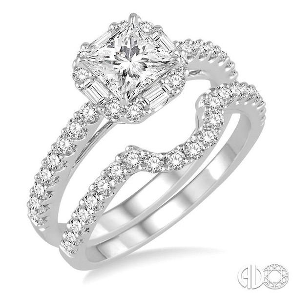 1 1/2 Ctw Diamond Wedding Set with 1 1/5 Ctw Princess Cut Engagement Ring and 1/3 Ctw Wedding Band in 14K White Gold Coughlin Jewelers St. Clair, MI