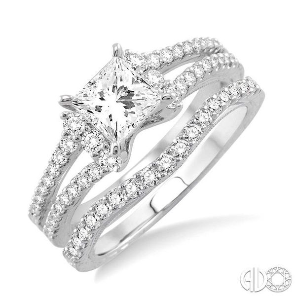 1 1/10 Ctw Diamond Wedding Set with 7/8 Ctw Princess Cut Engagement Ring and 1/4 Ctw Wedding Band in 14K White Gold Coughlin Jewelers St. Clair, MI