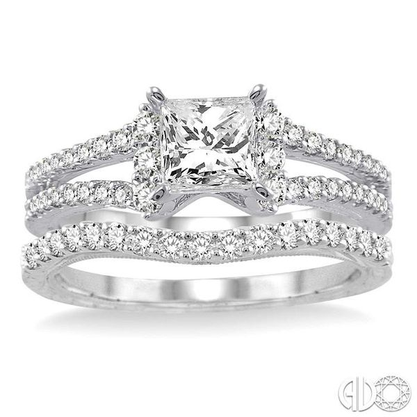 1 1/10 Ctw Diamond Wedding Set with 7/8 Ctw Princess Cut Engagement Ring and 1/4 Ctw Wedding Band in 14K White Gold Image 2 Coughlin Jewelers St. Clair, MI
