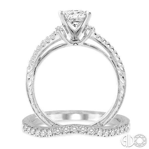 1 1/10 Ctw Diamond Wedding Set with 7/8 Ctw Princess Cut Engagement Ring and 1/4 Ctw Wedding Band in 14K White Gold Image 3 Coughlin Jewelers St. Clair, MI