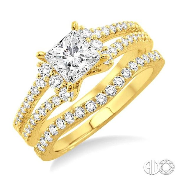 1 1/10 Ctw Diamond Wedding Set with 7/8 Ctw Princess Cut Engagement Ring and 1/4 Ctw Wedding Band in 14K Yellow Gold Coughlin Jewelers St. Clair, MI