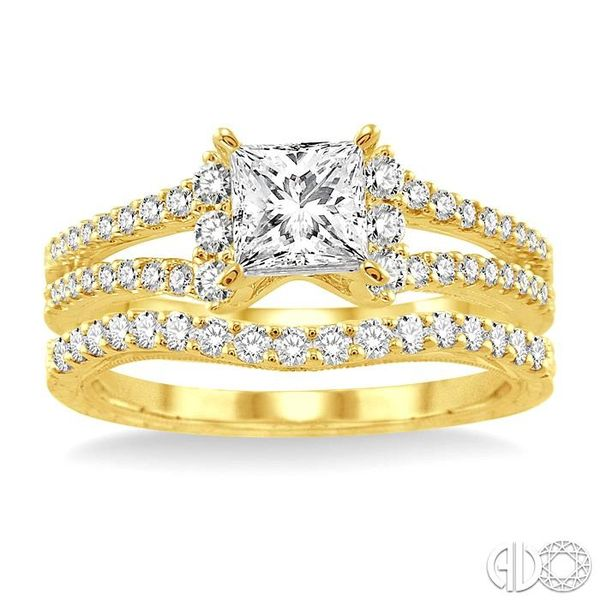 1 1/10 Ctw Diamond Wedding Set with 7/8 Ctw Princess Cut Engagement Ring and 1/4 Ctw Wedding Band in 14K Yellow Gold Image 2 Coughlin Jewelers St. Clair, MI