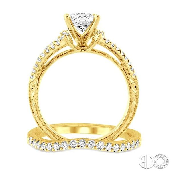 1 1/10 Ctw Diamond Wedding Set with 7/8 Ctw Princess Cut Engagement Ring and 1/4 Ctw Wedding Band in 14K Yellow Gold Image 3 Coughlin Jewelers St. Clair, MI