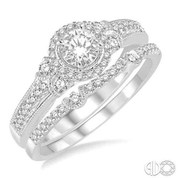 1/2 Ctw Diamond Bridal Set with 1/2 Ctw Round Cut Engagement Ring and 1/10 Ctw Wedding Band in 14K White Gold Coughlin Jewelers St. Clair, MI