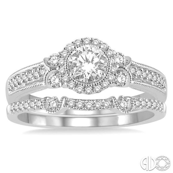 1/2 Ctw Diamond Bridal Set with 1/2 Ctw Round Cut Engagement Ring and 1/10 Ctw Wedding Band in 14K White Gold Image 2 Coughlin Jewelers St. Clair, MI