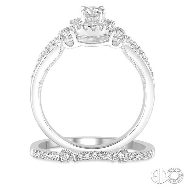 1/2 Ctw Diamond Bridal Set with 1/2 Ctw Round Cut Engagement Ring and 1/10 Ctw Wedding Band in 14K White Gold Image 3 Coughlin Jewelers St. Clair, MI