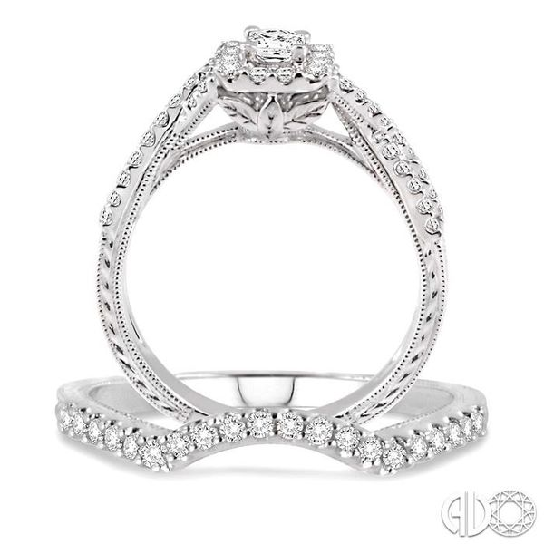 3/4 Ctw Diamond Wedding set with 5/8 Ctw Princess Cut Engagement Ring and 1/6 Ctw Wedding Band in 14K White Gold Image 3 Coughlin Jewelers St. Clair, MI