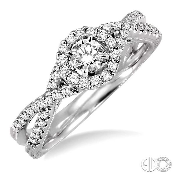 1/2 Ctw Diamond Engagement Ring with 1/5 Ct Round Cut Center Stone in 14K White Gold Coughlin Jewelers St. Clair, MI