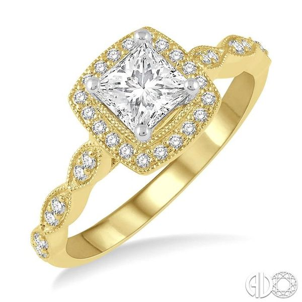 1/2 ctw Princess and Round Cut Diamond Engagement Ring in 14K Yellow and White Gold Coughlin Jewelers St. Clair, MI