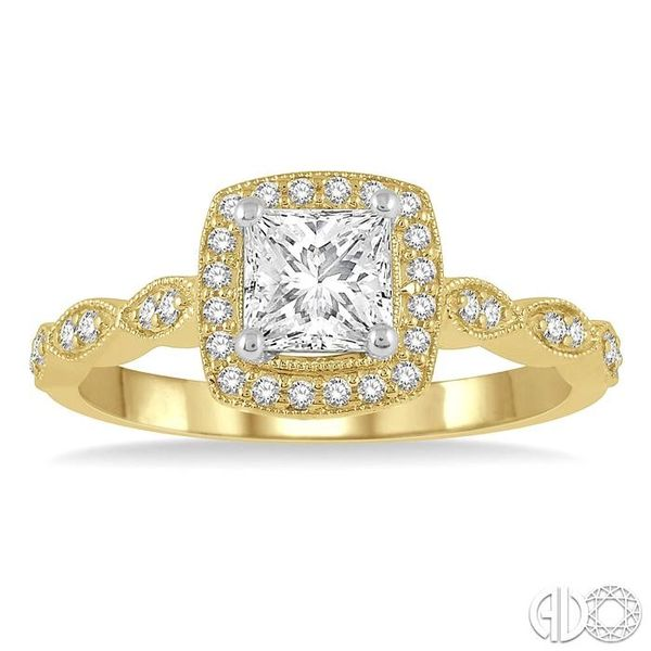 1/2 ctw Princess and Round Cut Diamond Engagement Ring in 14K Yellow and White Gold Image 2 Coughlin Jewelers St. Clair, MI