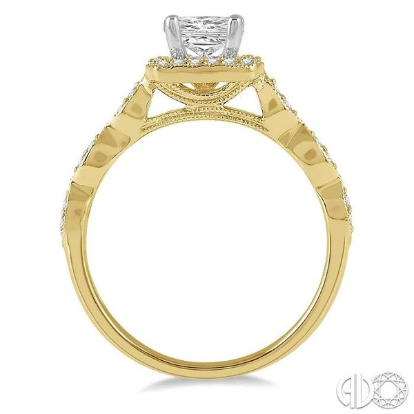 1/2 ctw Princess and Round Cut Diamond Engagement Ring in 14K Yellow and White Gold Image 3 Coughlin Jewelers St. Clair, MI