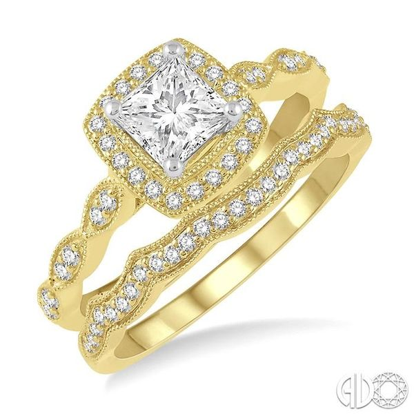 5/8 ctw Diamond Wedding Set With 1/2 ctw Princess & Round Cut Diamond Engagement Ring in 14K Yellow and White Gold and 1/10 ctw  Coughlin Jewelers St. Clair, MI