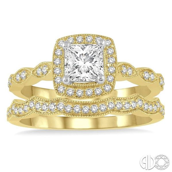 5/8 ctw Diamond Wedding Set With 1/2 ctw Princess & Round Cut Diamond Engagement Ring in 14K Yellow and White Gold and 1/10 ctw  Image 2 Coughlin Jewelers St. Clair, MI