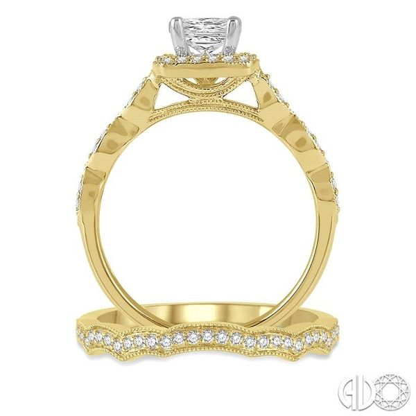 5/8 ctw Diamond Wedding Set With 1/2 ctw Princess & Round Cut Diamond Engagement Ring in 14K Yellow and White Gold and 1/10 ctw  Image 3 Coughlin Jewelers St. Clair, MI